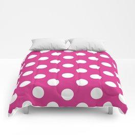 Deep cerise - fuchsia - White Polka Dots - Pois Pattern Comforters