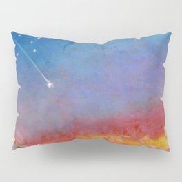 Together under shooting stars. Oil pastel. Pillow Sham