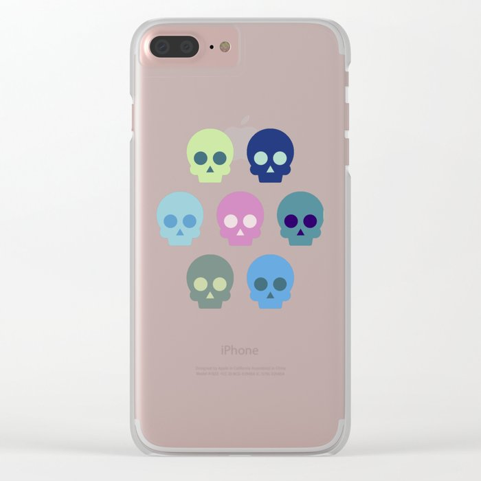 Colorful Skull Cute Pattern Clear iPhone Case