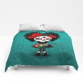 Day of the Dead Girl Playing Jordanian Flag Guitar Comforters