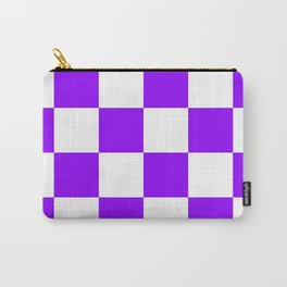 Large Checkered - White and Violet Carry-All Pouch