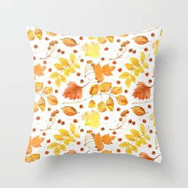 Watercolor autumn leaves seamless pattern on white background. Maple leave, hawthorn leave, birch le Throw Pillow