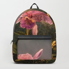 Cattleya Orchid and Three Brazilian Hummingbirds by Martin Johnson Heade. Backpack