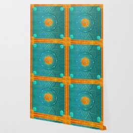 """Turquoise and Gold Mandala"" Wallpaper"