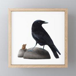 Friend or Foe (a Raven and a mouse) Framed Mini Art Print
