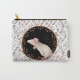 Beautiful nosey Mouse with flower background- Animal - mice - flowers Carry-All Pouch