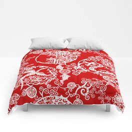 Pieces of China: Clusters (white on red) Comforters
