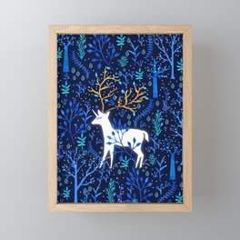 Deericorn In Blue Framed Mini Art Print
