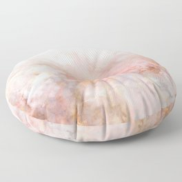 Beautiful Pink and Gold Ombre marble under snow Floor Pillow