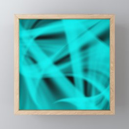 A flowing pattern of smooth light blue lines on the fibers of the veil with bright luminous transiti Framed Mini Art Print