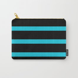 Hollywood Nights Black and Teal Stripes Carry-All Pouch