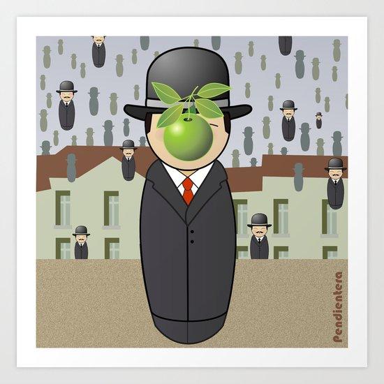 Kokeshi Magritte Art Print