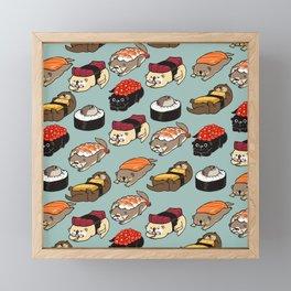 Sushi Otter Framed Mini Art Print