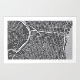 Center City Philadelphia Map Art Print