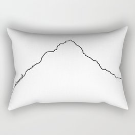 Mt Everest Art Print / White Background Black Line Minimalist Mountain Sketch Rectangular Pillow