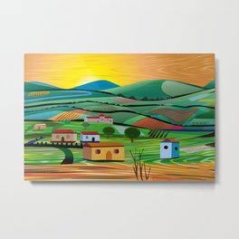 Sunset over Fields Metal Print