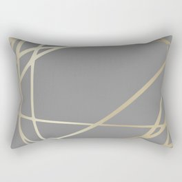 Gold and Gray Circles and Swirls Striped Abstract Pattern Rectangular Pillow