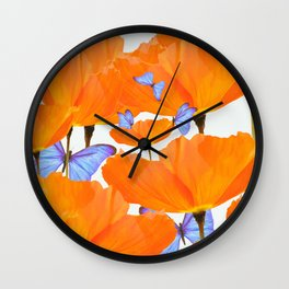 Poppies And Butterflies White Background #decor #society6 #buyart Wall Clock