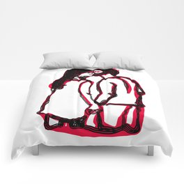 Romantic Kiss Line Drawing in White and Red Comforters