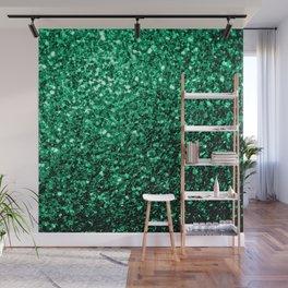 Beautiful Emerald Green glitter sparkles Wall Mural