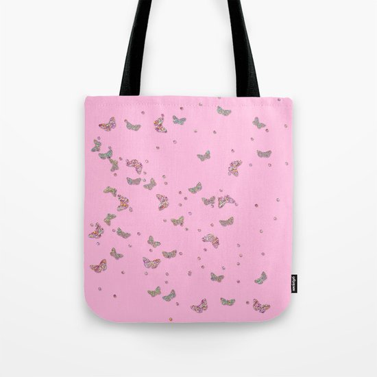 Animal - Animals Butterflies Butterfly diamonds and glitter effect on pink Tote Bag