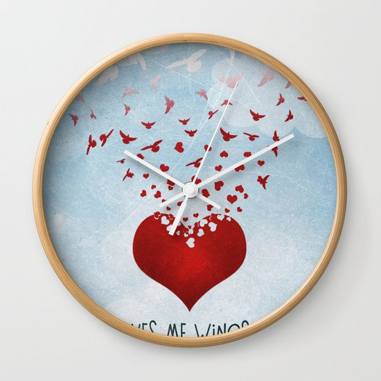 Love Gives Me Wings to Fly Wall Clock