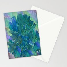Vintage Blue and Green Painterly Floral Abstract Stationery Cards