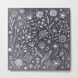 Chalkboard Flowers Metal Print