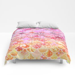 Rosegold & Gold Trendy Glitter Mermaid Scales Comforters