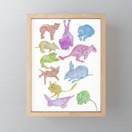 Australian Animals Partying! Framed Mini Art Print