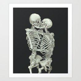 Valentine's Day: Skeleton Kiss Art Print