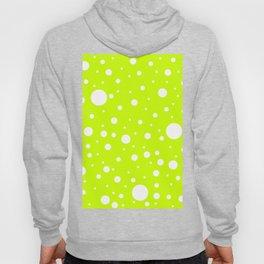 Mixed Polka Dots - White on Fluorescent Yellow Hoody