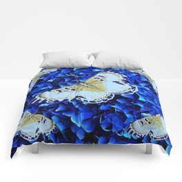 WHITE-PURPLE BUTTERFLIES BLUE MODERN ART Comforters