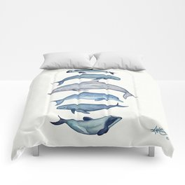 """""""Rare Cetaceans"""" by Amber Marine - Watercolor dolphins and porpoises - (Copyright 2017) Comforters"""