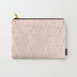 Modern white rose gold abstract geometric triangles on blush pink Carry-All Pouch