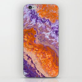 Clemson Orange and Purple Paint Pour Effect iPhone Skin