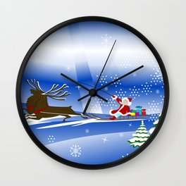 Santa Claus with christmas deer and presents Wall Clock