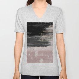 Abstract blush pink black gray gold glitter brushstrokes Unisex V-Neck