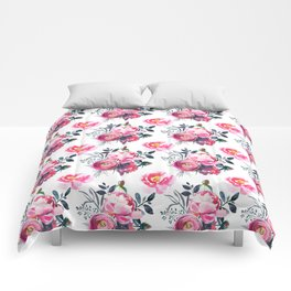 Hand painted blush pink gray yellow watercolor roses pattern Comforters