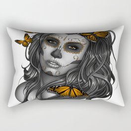 Sugar Skull Tattoo Girl with Butterflies Rectangular Pillow