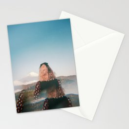 Girl Looking Out at Mount Fuji - Holga film photograph Stationery Cards