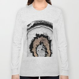 Gray Black White Agate with Gold Glitter #1 #gem #decor #art #society6 Long Sleeve T-shirt
