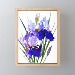 Garden Irises, Blue Purple Floral Design Framed Mini Art Print