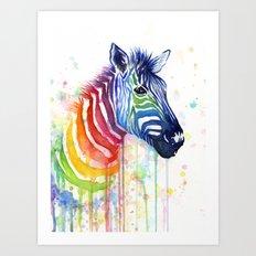 Zebra Rainbow Watercolor Whimsical Animal Art Print