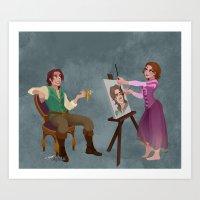 Tangled - Rapunzel Short Brown Hair and Flynn Rider Art Print