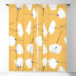 Poppies on mustard Blackout Curtain