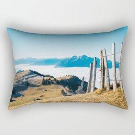 Alpine Peaks Sticking Out of Sea of Fog Rectangular Pillow
