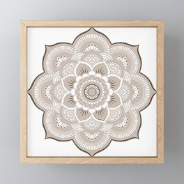 Beige & White Mandala Framed Mini Art Print