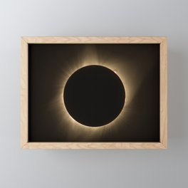 Flares - Total Solar Eclipse with Subdued Corona and Sun Bursts Framed Mini Art Print
