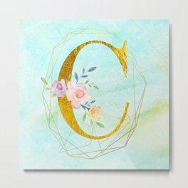 Faux Gold Foil Alphabet Letter C Initials Monogram Frame with a Gold Geometric Wreath Metal Print